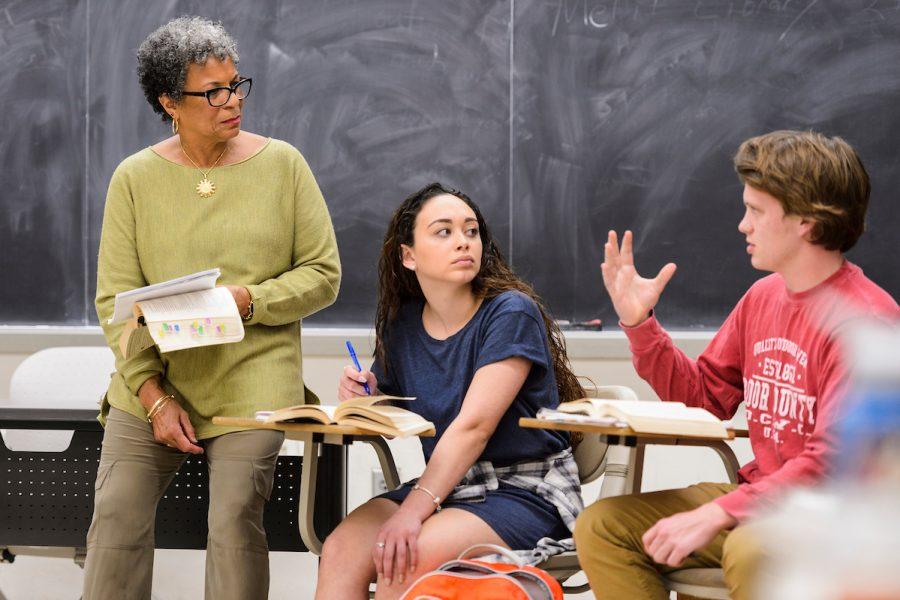 Student and professor having a conversation
