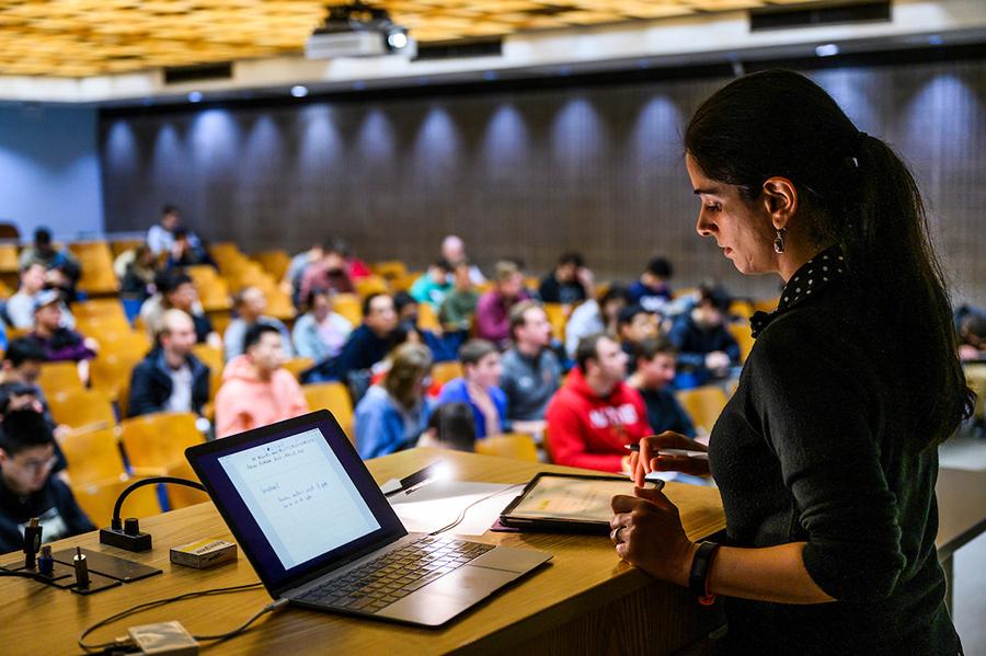 Professor introducing class materials