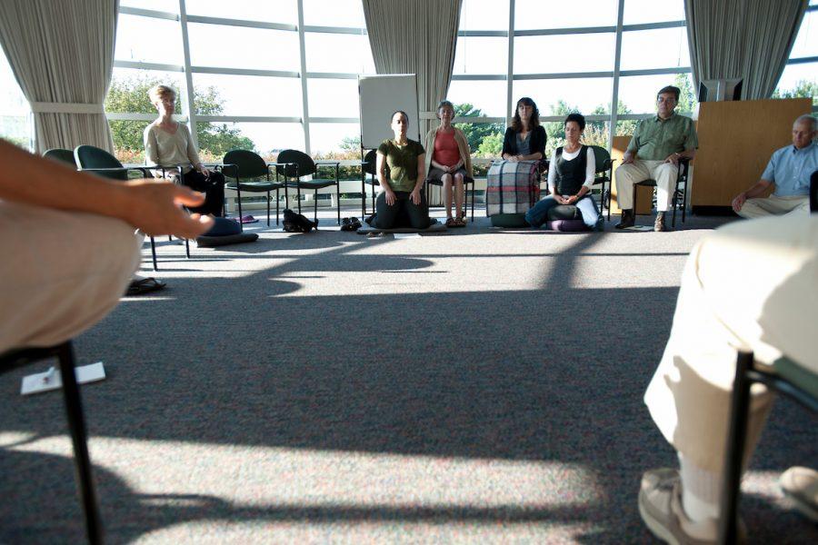 Students practing mindfulness
